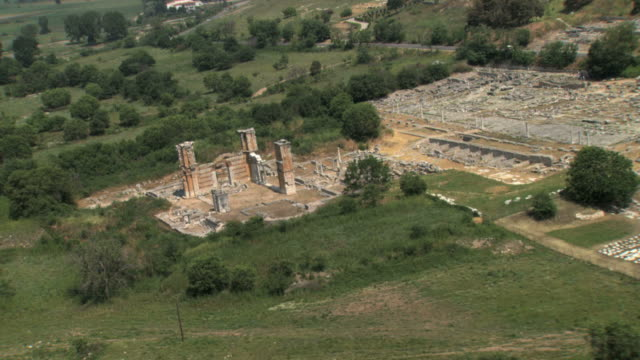 MS AERIAL ZO Ruins of ancient city philippi / Philippi, Thrace,  Greece