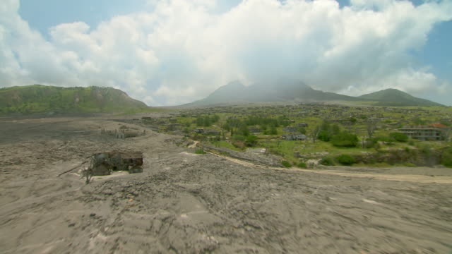 Ruins of Plymouth on Montserrat showing pyroclastic flows and destruction.