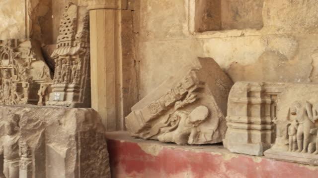 Ruins of various ancient hindu sculptures found in Abhaneri, near Jaipur, Rajasthan