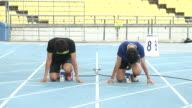 MS Runners running on starting block / Seoul, South Korea