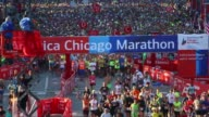 Runners take off from Monroe street and head up Columbus Drive for the 39th running of the Chicago Marathon in Chicago Illinois on 09 October 2016...