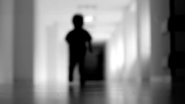 Running boy, hospital, Black and white