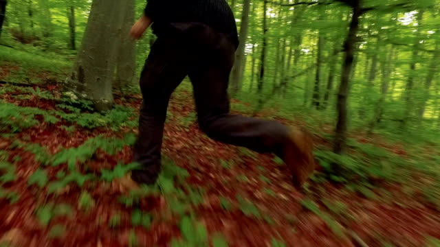 Running in the forest - slow mo