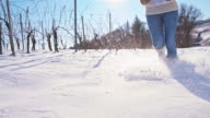 SLO MO Running In The Snow Covered Vineyard