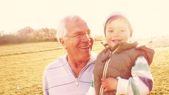 Running through the field with my grandpa