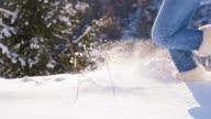 SLO MO Running Through The New-Fallen Snow