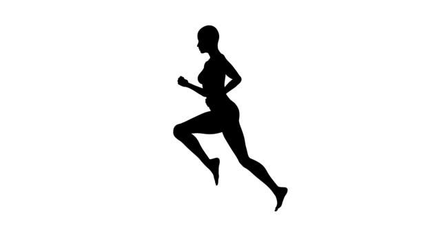 Running-Frau und Silhouette/Endlos wiederholbar