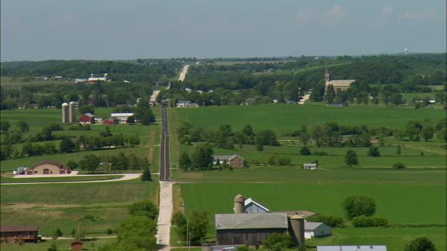 AERIAL Rural farming community and church near Waukesha, Wisconsin, USA