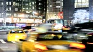 LAPSE Rush hour mass transit traffic 59th Street Columbus Circle Upper West Side Manhattan New York City USA TIME LAPSE Columbus Circle Manhattan NYC...