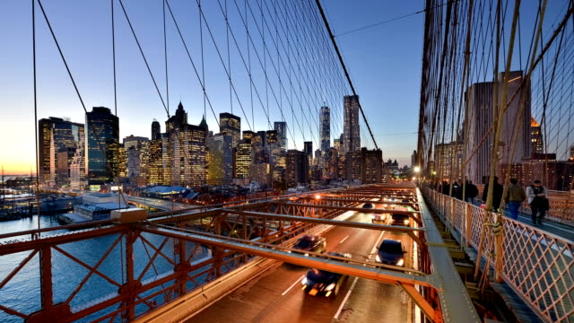 Rush Hour on Brooklyn Bridge in New York
