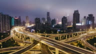 T/L WS HA PAN Rush Hour Traffic on Multiple Highways and Flyovers at Night / Shanghai, China
