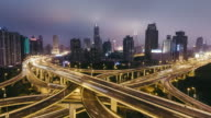 T/L WS HA ZI Rush Hour Traffic on Multiple Highways and Flyovers at Night / Shanghai, China