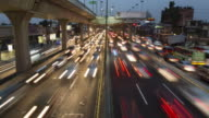 TL, WS, HA Rush hour traffic on ten lane highway, day to night / Mexico City, Mexico