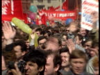 Rushes Mikhail Gorbachev USSR VicePresident Yanaev Kryuchkov demonstration on Red Square speech people cheering party leaders CU Gorbachev saluting...