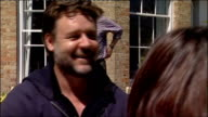 Russell Crowe visits Durham University Russell Crowe interview SOT About six years ago having dinner at The Dorchester with Bill Bryson / He had just...