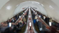 Russia, Moscow, Escalator leading into the world's deepest  Metro system
