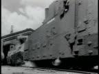 Russian Armored train cars w/ gun turrets passing TRACKING train turret guns WWII World War II