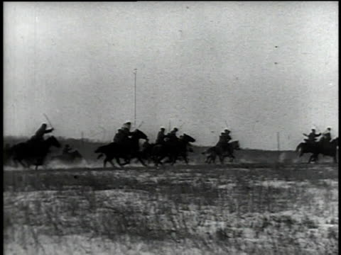 Russian cavalry charging across field / Moscow Russia
