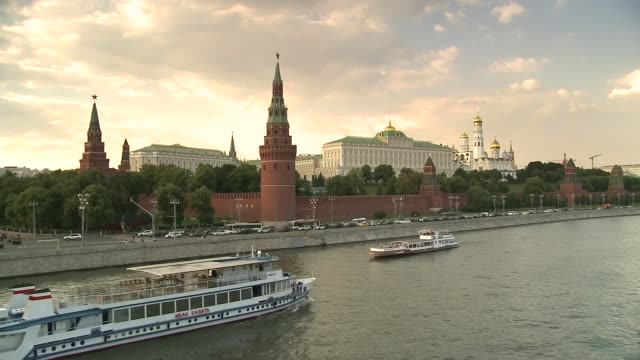 Committee hears of moves to make Assange Australian ambassador to the US T17061709 / 1762017 RUSSIA Moscow EXT View across the Moskva River towards...