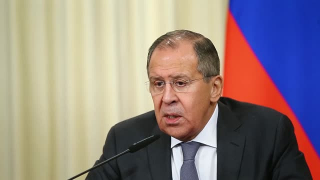 Russian Foreign Minister Sergei Lavrov and Argentinian Foreign Minister Jorge Marcelo Faurie attend a joint press conference in Moscow Russia on...