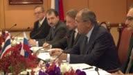 Russian Foreign Minister Sergei Lavrov meets his Thai counterpart Don Pramadwinai as part of a visit in Bangkok