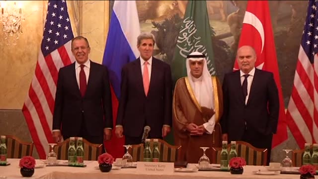 Russian Foreign Minister Sergei Lavrov US Secretary of State John Kerry Saudi Foreign Minister Adel alJubeir and Turkish Foreign Minister Feridun...