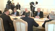 Russian Foreign Minister Sergey Lavrov and Deputy Prime Minister of Croatia and Minister of Foreign and European Affairs Davor Ivo Stier speak during...