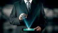 Russian Language Choose Businessman using digital tablet technology futuristic background