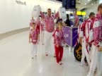 Russian Paralympians arrive at Heathrow Airport