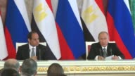 Russian President Vladimir Putin and Egyptian President Abdel Fattah elSisi hold a joint press conference following their meeting at the Kremlin in...