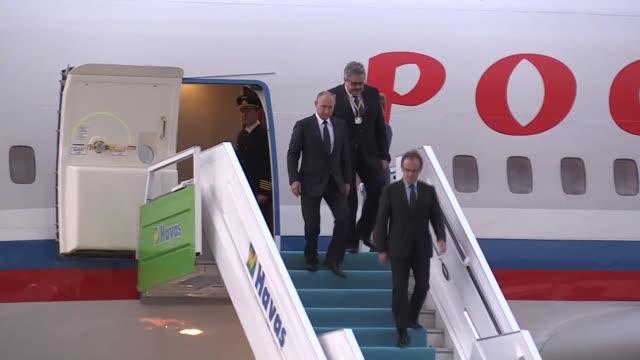 Russian President Vladimir Putin arrives at Esenboga International Airport in Ankara Turkey on September 28 2017 Russian President Putin to meet...