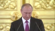 Russian President Vladimir Putin delivers a speech during a reception for the Russian Olympics team at the Kremlin in Moscow Russia on July 27 2016