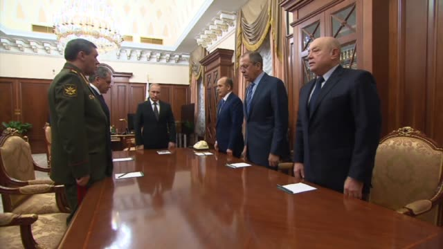 Russian President Vladimir Putin holds a meeting in the Kremlin where Federal Security Service Director Alexander Bortnikov reported on the causes of...