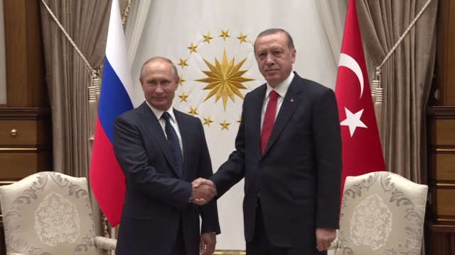 Russian President Vladimir Putin is welcomed by Turkish President Recep Tayyip Erdogan with an official welcoming ceremony and two leaders hold a...