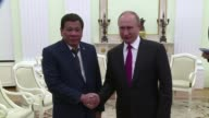 Russian president Vladimir Putin on Tuesday in Moscow received his Philippine counterpart Rodrigo Duterte who cut his official visit short due to...