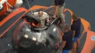 Russian President Vladimir Putin sits on board a bathyscaphe as it plunges into the Black sea along the coast of Sevastopol Crimea a territory that...