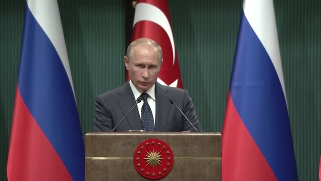Russian President Vladimir Putin speaks during a joint press conference with his Turkish counterpart Recep Tayyip Erdogan following their meeting at...