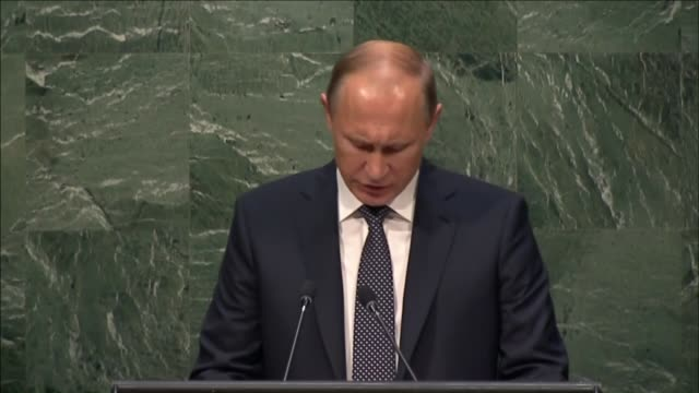 Russian president Vladimir Putin speaks during the opening of the 70th session of the United Nations General Assembly at the UN headquarters in New...