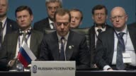 Russian Prime Minister Dmitriy Medvedev delivers a speech during the 25th Anniversary Summit of the Organization of the Black Sea Economic...