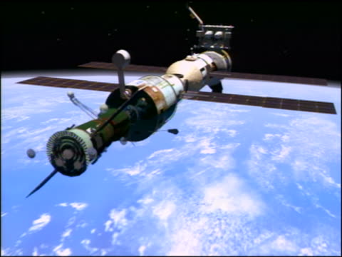 COMPUTER ANIMATED Russian Soyuz docking with International Space Station components