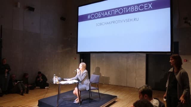 Russian television star Ksenia Sobchak gives her first press conference after announcing her bid for presidency