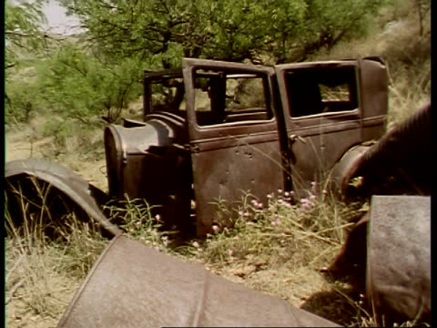 MS rusty car, abandoned in scrubland, USA