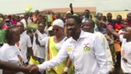 Rwandan opposition candidate Frank Habineza holds a rally with supporters in Burera after an eight year struggle to register his Democratic Green...