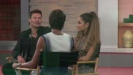 Ryan Seacrest Ariana Grande being interviewed on the set of the Good Morning America show in Celebrity Sightings in New York