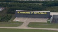 Michael O'Leary speaks at AGM Essex Stansted Airport Ryanair hangar at airport AIR VIEW / AERIAL Ryanair aircraft taking off
