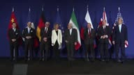 EU's foreign policy chief Federica Mogherini and Iranian Foreign Minister Mohammad Javad Zarif hold a press conference during the announcement of an...