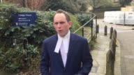GV's of Aaron Brown leaving Winchester Crown Court followed by his junior barrister Daniel Reilly reading a statement on his behalf Brown has been...