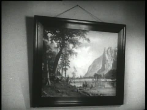 B/W 1930's painting falling off vibrating wall / Keystone Hotel
