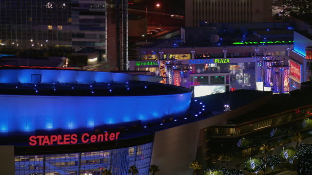 LA's Staples Center And Nokia Plaza At Night