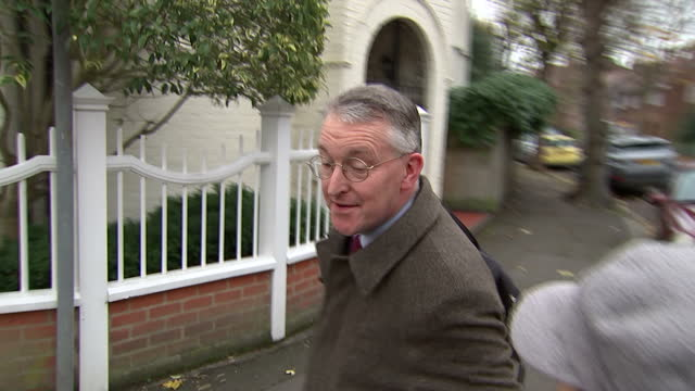 MP's vote in favour of airstrikes in Syria Shows exterior shots Hilary Benn MP Shadow Foreign Secretary leaving his home ignoring questions from...
